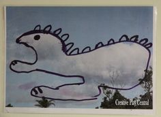 Take some photos of clouds. Laminate, or place each photo in a plastic sleeve. Provide   some different colored dry erase markers and let their imagination do the creating as they transform the clouds into creatures, people, houses, transport vehicles or whatever their imagination desires.
