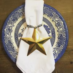 """Set of 4 large brass star napkin rings/ornaments. 5""""x5"""". $14. I have three sets of these. First three sold comments get them let me know if you want more than one set. (Ribbon isn't included) #christmas2015 #christmastablescape #standout #shopthealist"""