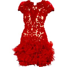 Marchesa - edited by Satinee ❤ liked on Polyvore featuring dresses, vestidos, short dresses, gowns, red dress, short red dress, marchesa dresses, mini dress and marchesa