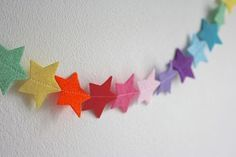 Felt Star Nursery Garland I think that I could make this! Rainbow Felt Star Nursery Garland - Good idea for a mobile, too! Rainbow Felt Star Nursery Garland - Good idea for a mobile, too! Star Garland, Felt Garland, Felt Ornaments, Felt Bunting, Felt Banner, Felt Christmas Decorations, Christmas Crafts, Christmas Bunting, Christmas Christmas