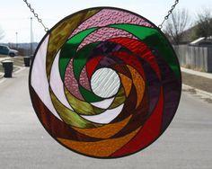Kaleidoscope Stained Glass Round Window Panel