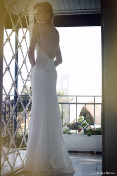 flora bridal 2014 eve wedding dress with straps back view train