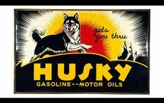 Huge Original Husky Gasoline & Motor Oils Porcelain Sign