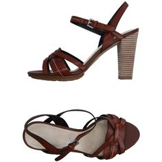 Rockport Sandals (€47) ❤ liked on Polyvore featuring shoes, sandals, brown, leather shoes, rubber sole sandals, brown leather shoes, round toe shoes and leather sandals