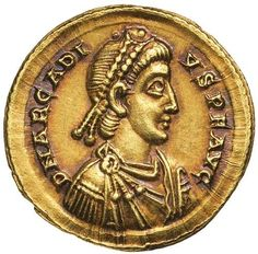 Ancient Gold Coins - Roman / ARCADIUS, (A.D. 383-408), gold solidus... Realisation Price $2,850.00 AUD... Click VISIT to see 10,000+ Gold Coins at MAD On Collections. Please feel free to pin or share this coin. #GoldCoins