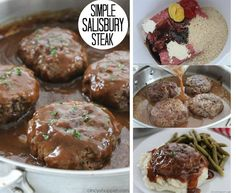 Simple Salisbury Steak FB This Simple Salisbury Steak will make for a perfect weeknight recipe idea to serve the family. Add in some mashed potatoes and your favorite veggies for the ultimate comfort food. An easy meal idea th Meat Recipes, Crockpot Recipes, Cooking Recipes, Dinner Recipes, Dinner Ideas, Recipies, Cooking Sauces, Supper Ideas, Dinner Menu
