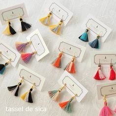Emerald stud earrings with raw, rough Emeralds set in my lotus flower jewelry design. Tassel Earing, Tassel Jewelry, Fabric Jewelry, Ear Jewelry, Jewelry Crafts, Handmade Jewelry, Thread Jewellery, Jewellery Box, Bijoux Diy