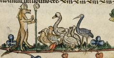 Do Animals Go to Heaven? Medieval Philosophers Contemplate Heavenly Human Exceptionalism Reynard the Fox, wearing a bishop's mitre and carrying a crozier, preaching to birds, including falcons, chickens, geese, a stork and a swan. From British Library Royal 10 E IV