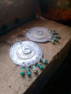 Earrings, Recycled Aluminum, Turquoise Earrings