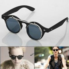 fa19cd51c71 1 Pair Retro Fashion Steampunk Style Costume Round Glass Flip Up Clear Lens  Gunmetal Frame Smoke