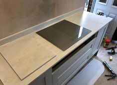 "Hob Run ""Corian Rain Cloud"" thick with Coved Up-stands High Kitchen Worktop, Granite Kitchen, Corian Rain Cloud, Corian Worktops, Corian Solid Surface, Rain Clouds, Work Tops, Goodies, Design"