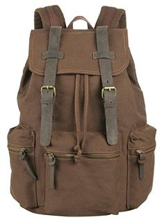 Topsung Vintage Canvas Backpack Rucksack school bag Satchel Hiking bag Coffee -- Find out more about the great product at the image link. Note:It is Affiliate Link to Amazon.