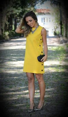 24 Ideas For Sewing Patterns Shirt Dress Summer Funky Dresses, Simple Dresses, Casual Dresses, Casual Outfits, Fashion Dresses, Yellow Dress Casual, Short Summer Dresses, Dress Summer, Red Homecoming Dresses