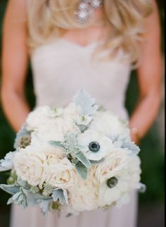 #anemone, #bouquet  Photography: Michael + Anna Costa Photography - michaelandannacosta.com  Read More: http://www.stylemepretty.com/2013/12/17/ojai-wedding-at-red-tail-ranch/
