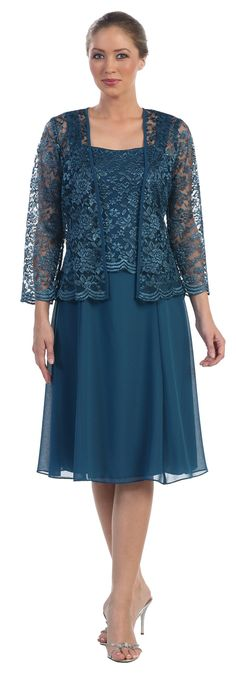 Short Teal Mother of Groom Dress Chiffon Knee Length Lace Jacket / discountdressshop - silver or gold?