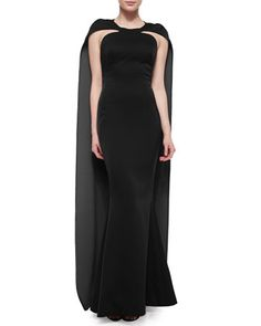 Keyhole Cape-Back Mermaid Gown by Zac Posen at Neiman Marcus.
