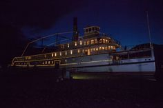 SS Sicamous at night, during a wedding reception. Jodie Lynn Wedding Photography