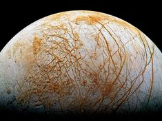 The frozen, fissured surface of Jupiter's moon Europa, seen in a colorized mosaic image from the Galileo spacecraft. Jupiter's Moon Europa, Jupiter Moons, Space Planets, Space And Astronomy, Cosmos, Planets And Moons, Nasa, Nebulas, Planets