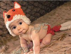 Fox Orange Cream Hanmade Baby Diaper Set (0 to 6 months)