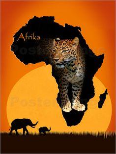 "Poster: ""Afrika der schwarze Kontinent"" - Romantic Wall Art by Mausopardia - Romantische Wandbilder von Mausopardia bei Posterlounge!"