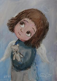 ✿ ❀ ❁✿ ❀ ❁✿ ❀ Angel Illustration, Angel Drawing, Angel Pictures, Angel Art, Canvas Pictures, Painting For Kids, Illustrations, Art Prints, Drawings