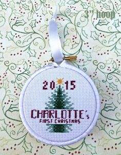 First Christmas Ornament Cross Stitch Pattern // DIY Baby Gift // PDF Download Pattern // Christmas Baby Gift // Christmas Tree Ornament by TangledToad on Etsy https://www.etsy.com/listing/250415645/first-christmas-ornament-cross-stitch