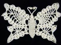 Lacy crocheted Butterfly (no pattern) Irish Crochet, Crochet Lace, Crochet Tops, Crochet Doilies, Diy And Crafts, Arts And Crafts, Crochet Edging Patterns, Crochet Butterfly, Point Lace