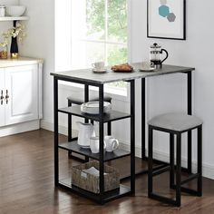 3 piece dining room set : Mainstays Metal Pub Set with Faux Concrete Top, Gray, Black – Home and Garden Dining Stools, Kitchen Stools, Dining Room Table, Dining Set, Kitchen Storage, Bar Stools, Small Apartments, Small Spaces, Concrete Table Top