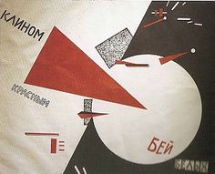 El Lissitzky, Beat the Whites with the Red Wedge, 1919, litho,50 x 69 cm, Lenin Library, Moskou, Rusland.