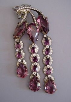 "Hattie Carnegie - purple and clear rhinestones 4"" fur clip, circa 1940"