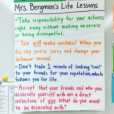 Anchor chart for middle school students on responsibility, accountability, and behavior.
