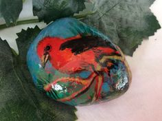 Hand Painted Redbird Rock by KarensFineCrafts on Etsy