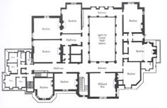Ochre Court Floor Plan--The upper floor consisted of bedrooms, boudoirs, a billiard room, master suites, baths, servant's rooms and sitting rooms.