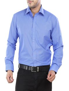 Blue Solid Formal Cotton Shirt