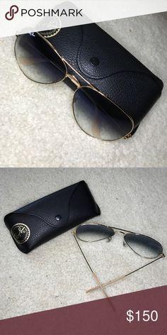 Oversized Ray-Ban 62 Gold Blue Gradient Lens Brand New! Ray-Ban Accessories Sunglasses