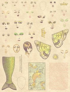 Mermaid paper art doll rubber stamps faces tail wings crown template