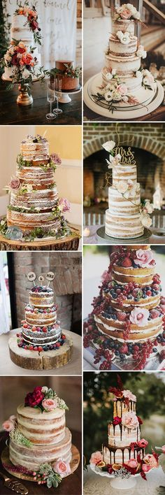 stunning naked wedding cakes wedding food 50 Steal-Worthy Wedding Cake Ideas For Your Special Day Country Wedding Cakes, Wedding Cake Rustic, Unique Wedding Cakes, Beautiful Wedding Cakes, Wedding Themes, Trendy Wedding, Our Wedding, Dream Wedding, Wedding Decorations