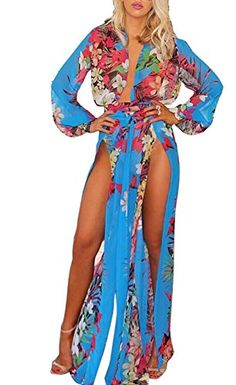 4085ee8ec6 LKOUS Women s Long Sleeve High Split Maxi Beach Dress Bikini Swimsuit Cover  Up