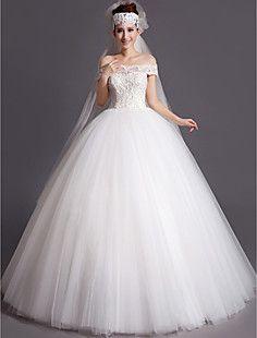 Lace vestido de baile Floor comprimento fora-a-ombro e vesti... – BRL R$ 341,18