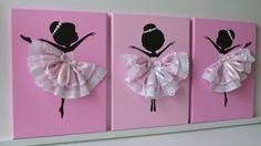 Conjunto de tres bailarinas baila en rosa. Decoración de dormitorio para niñas…