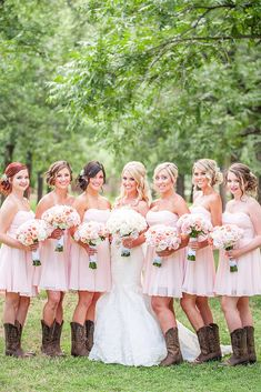 21 Ideas For Rustic Bridesmaid Dresses ❤ rustic bridesmaid dresses short sweetheart pink with boots drew brashler photography ❤ Full gallery: https://weddingdressesguide.com/rustic-bridesmaid-dresses/ #wedding #bride #rusticwedding #bridesmaiddress