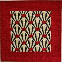 Black Red and Cream Silk Miniature Fan Quilt