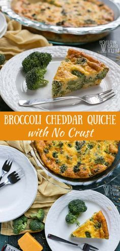 Love quiche but not all the empty calories that comes with it? Then - Love quiche but not all the empty calories that comes with it? Then try this crustless broccoli cheddar quiche recipe. Only five minutes of prep time! Keto Quiche, Crustless Broccoli Cheddar Quiche Recipe, Atkins Quiche Recipe, No Crust Quiche, Low Carb Quiche, Frittata, Low Carb Recipes, Diet Recipes, Cooking Recipes