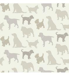Papel pintado siluetas de perros grises fondo claro - 40809