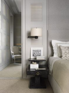 bedroom, NYC  color//fully mirrored interior door.