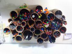 Полочка-подставка для канцелярских принадлежностей - креативный способ применения картонных труб от Griscel Diaz