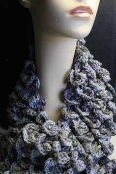 Crocodile Stitch Dove Grey Crocheted Scarf
