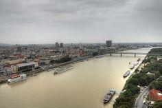 The River Danube flows through Bratislava, Slovakia