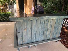 Blue Beach Bar Kitchen 8 x 6 2-level Shabby Chic Rustic Barn | Etsy Rustic Outdoor, Rustic Barn, Barn Wood, Outdoor Decor, Indoor Bar, Patio Bar Set, Bar Kitchen, Corrugated Metal, Blue Beach