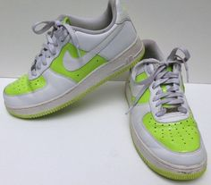 Nike Air Force 1 82 shoes size 10 white leather lime green AF-1 #NikeAF1 #AthleticSneakers